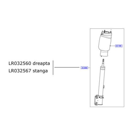 Amortizor suspensie cu perna ansamblu fata stanga Range Rover L405 LR032567