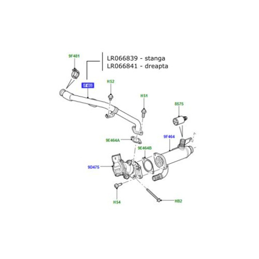 Conducta EGR dreapta Land Rover Discovery 4 2700 diesel LR066841