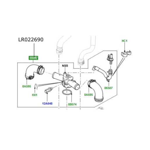 Conducta superioara conector termostat Range Rover L322 4400 V8 diesel LR022690