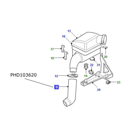 Furtun filtru aer Land Rover Defender TD5 PHD103620