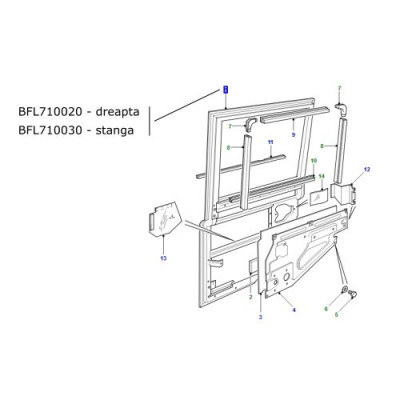 Usa spate laterala stanga LR Defender 2002-2005 BFL710030