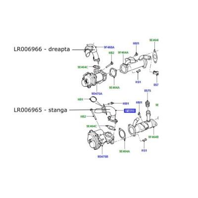 Conducta EGR stanga Range Rover L322 si Sport 3600cc diesel LR001858 LR006965