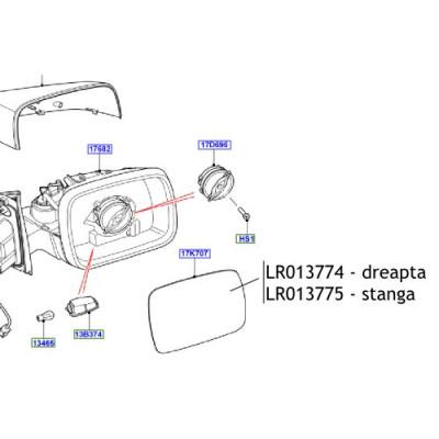 Sticla oglinda stanga Freelander 2 Discovery 4 Range Rover Sport LR013775