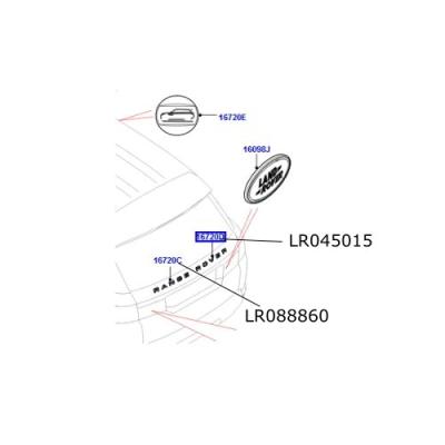 "Emblema hayon text ""Rover"" Range Rover Sport de la 2014 LR045015"