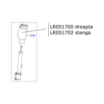 Perna aer suspensie dreapta Range Rover L322 LR051700