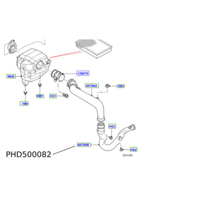Furtun filtru aer Discovery 3 4 Range Rover Sport PHD500082